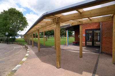 Timber Covered Walkway at Elmbridge School - Broxap