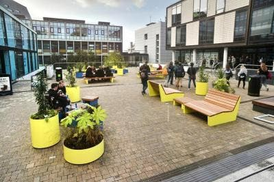 Outdoor Social Seating and Planters for University of Plymouth Students' Union | Broxap Street Furniture Case Study