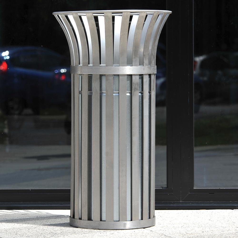Weyburn Open Top Litter Bin - Stainless Steel