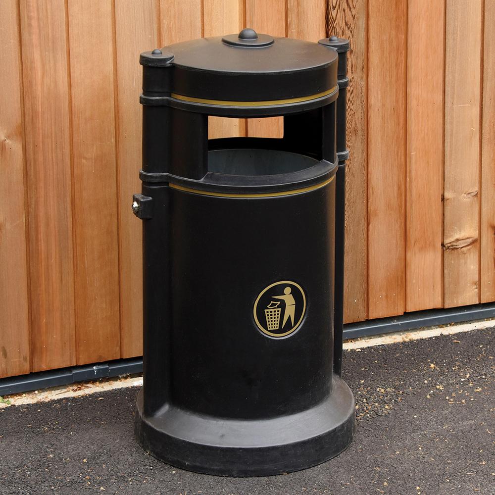 Maelor Trafflex Round High Security Litter Bin - 90 Litre