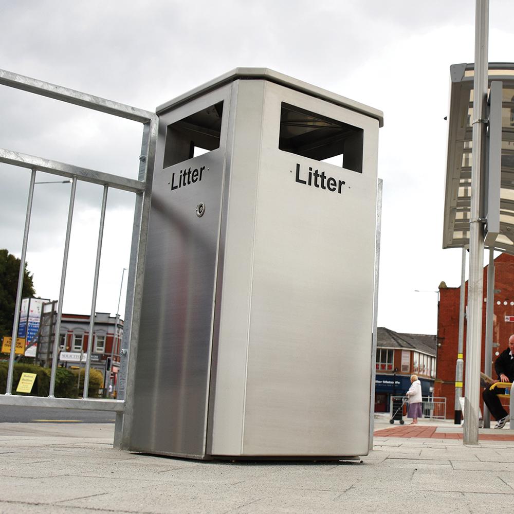 Derby Standard Litter Bin - Stainless Steel