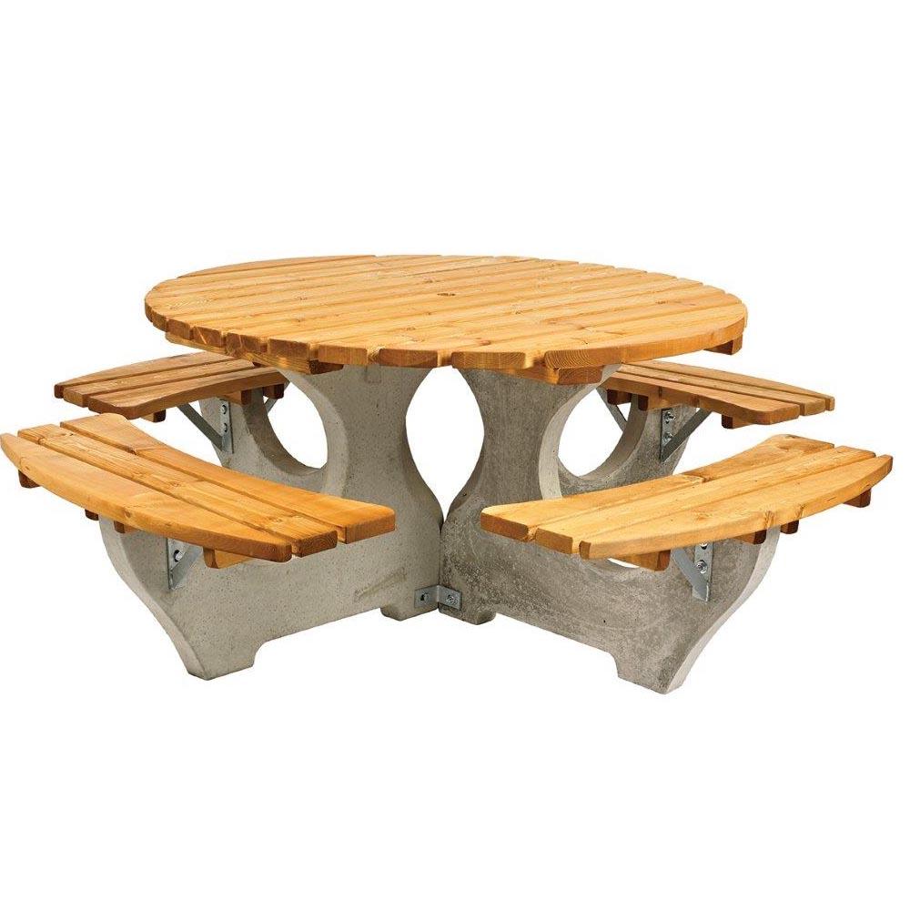Hundleton Concrete & Timber Round Picnic Unit