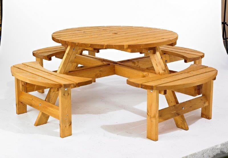 Camrose Round Timber Picnic Bench