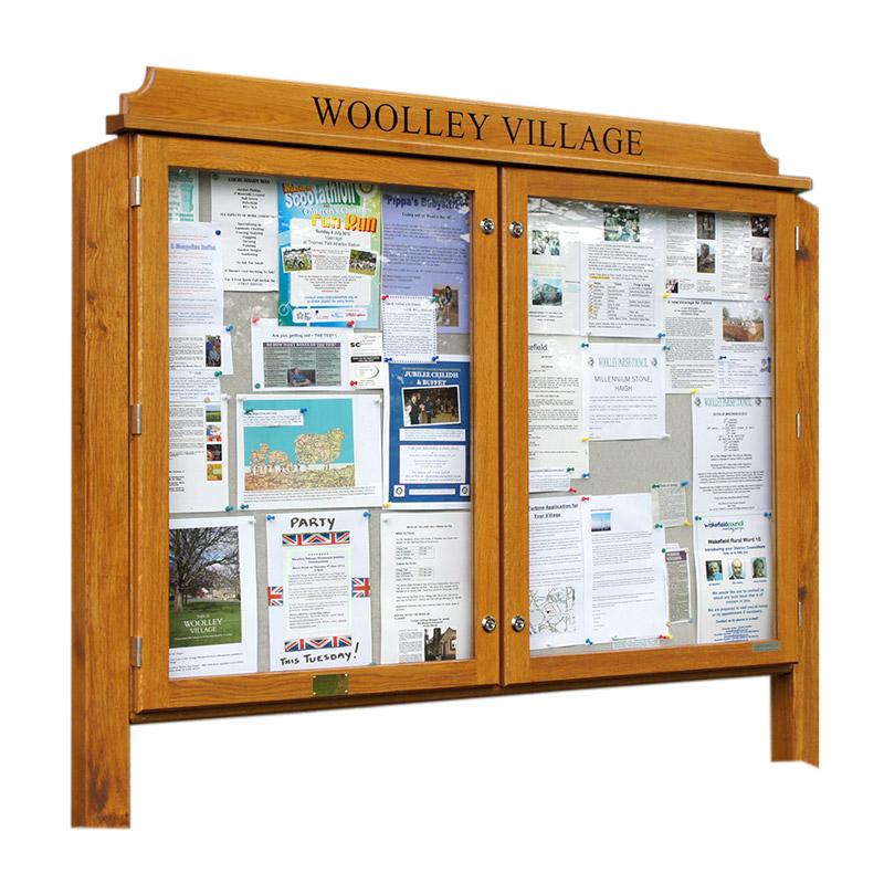Double Bay Oak Glazed Noticeboard (Displays 18 x A4 Sheets)