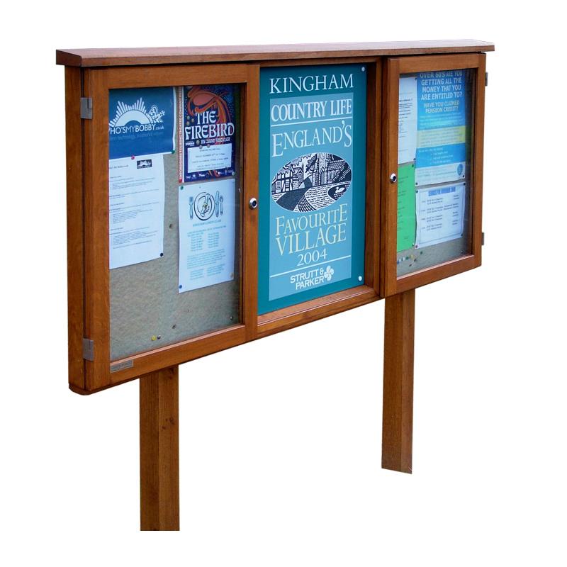 Triple Bay Oak Noticeboard, 2 Bays Glazed (Displays 12 x A4 Sheets)