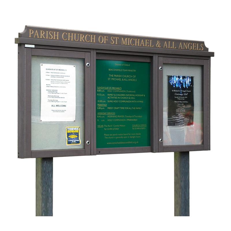 Triple Bay 'Man-Made Timber' Noticeboard, 2 Bays Glazed (Displays 4 x A4 Sheets Per Bay)