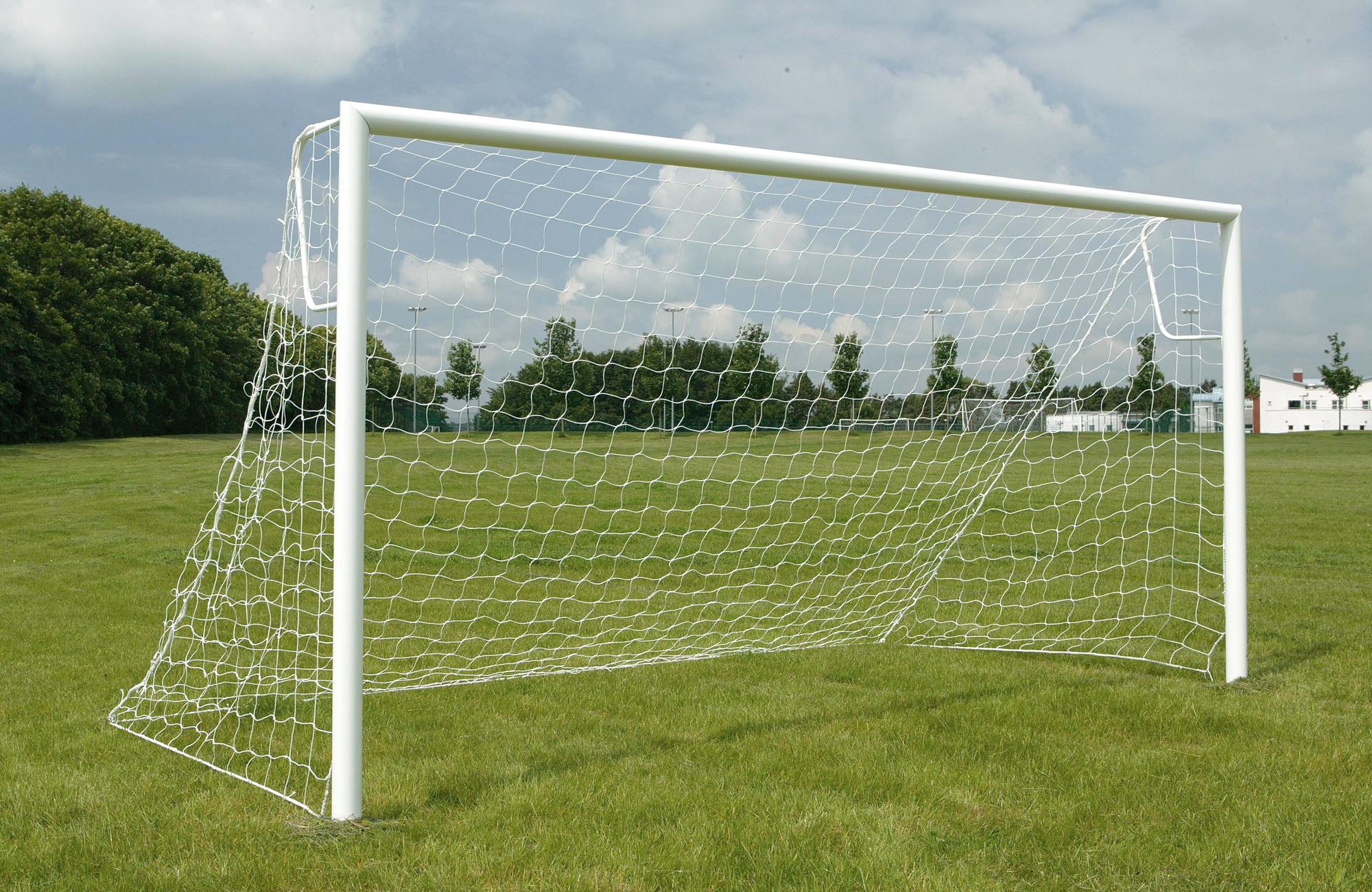 80mm Aluminium Socketed Football Goal Posts - 12' x 6'
