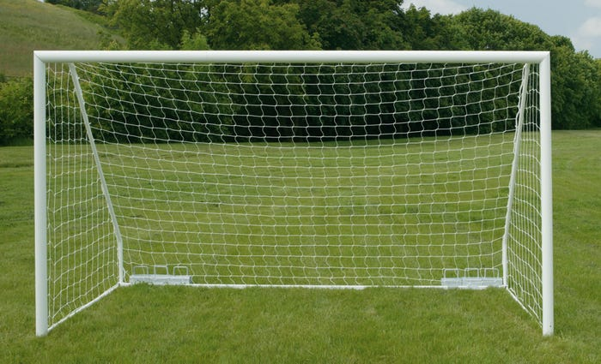 80mm Aluminium Freestanding Football Goal Posts - 12' x 6'
