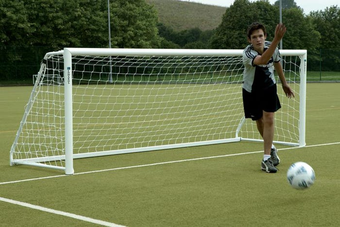 80mm Aluminium Freestanding Football Goal Posts - 16' x 4'