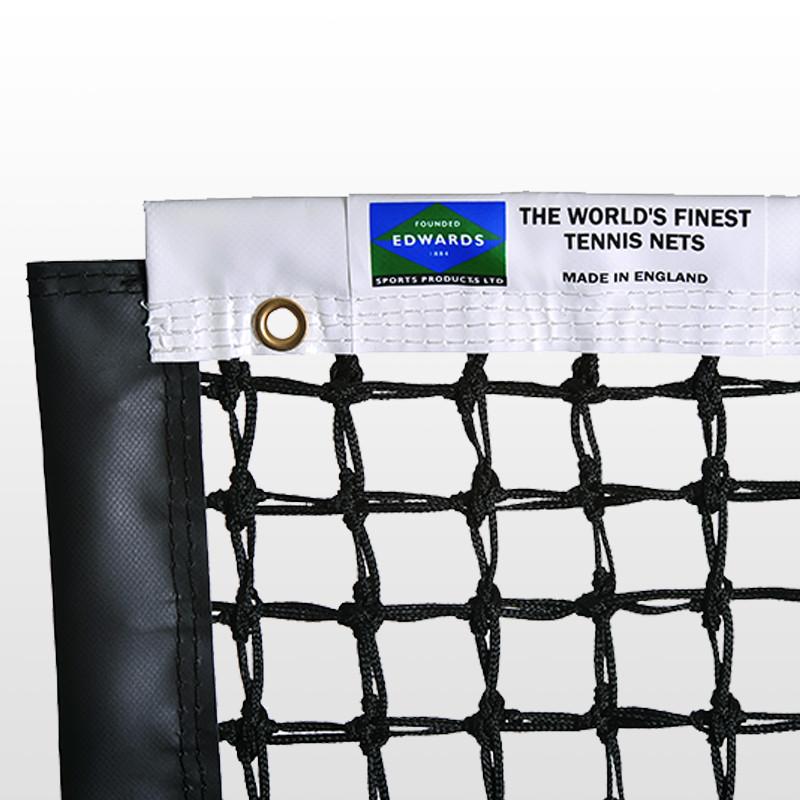 Edwards Championship Tennis Net 3.5mm with Vinyl Coated Fabric Headband / Quad Stitched & Double Netting