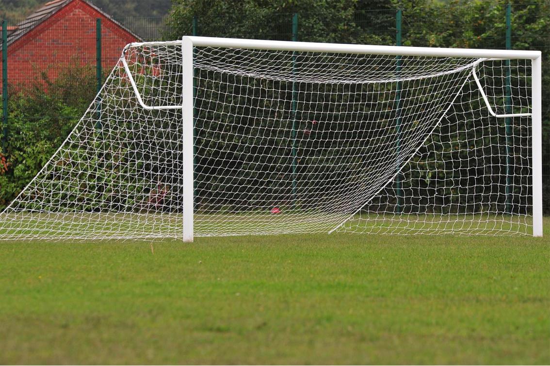 Elliptical Aluminium Socketed Football Goal Posts - 16' x 7'