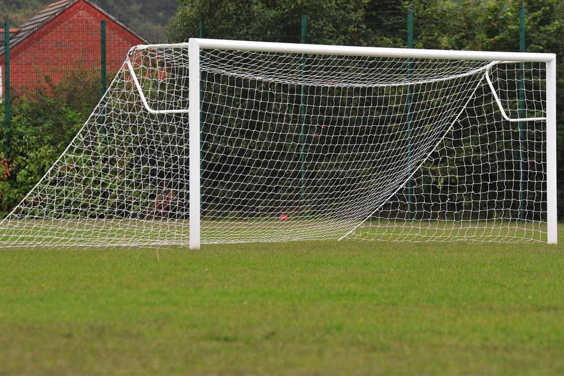 Elliptical Aluminium Socketed Football Goals Package - 16' x 7'