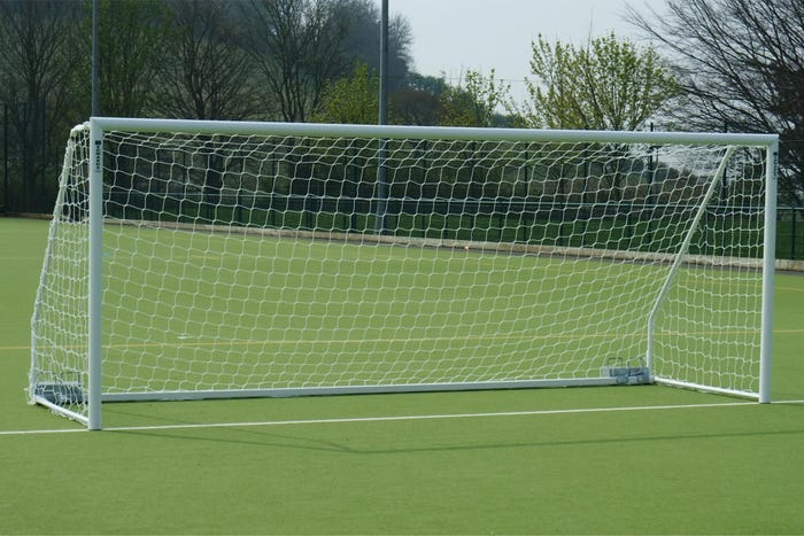 80mm Aluminium Freestanding Foldaway Football Goal Posts - 16' x 7'