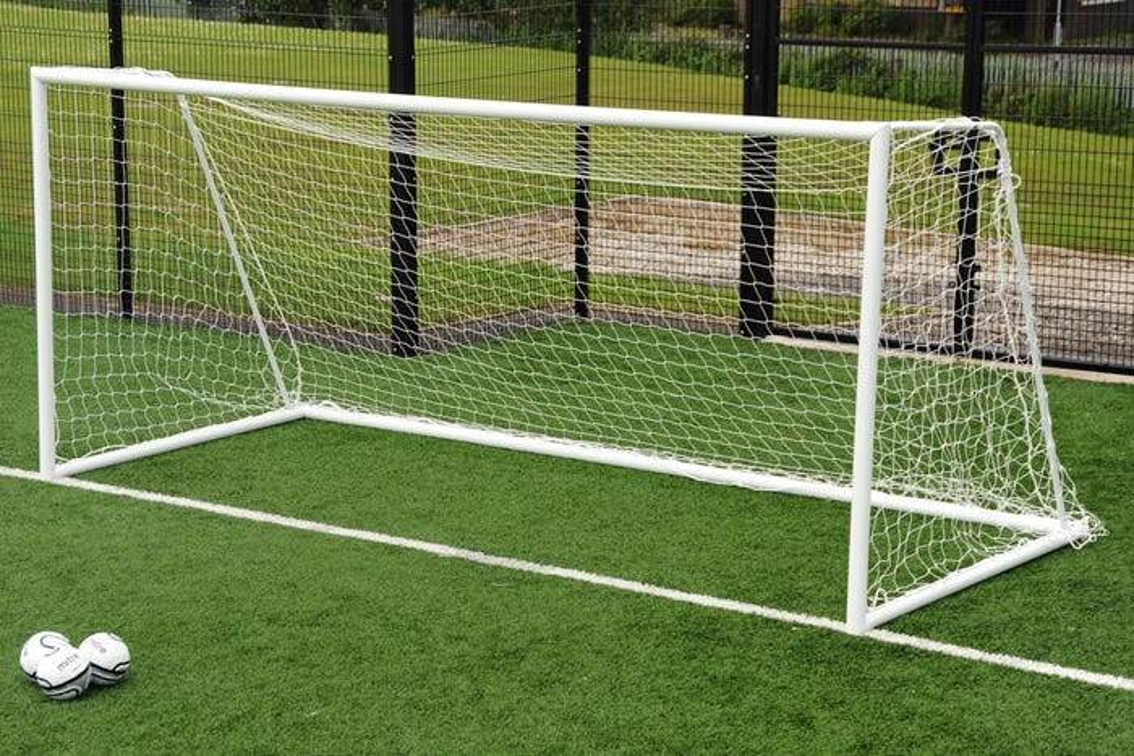 80mm Aluminium Freestanding Football Goal Posts - 16' x 7'