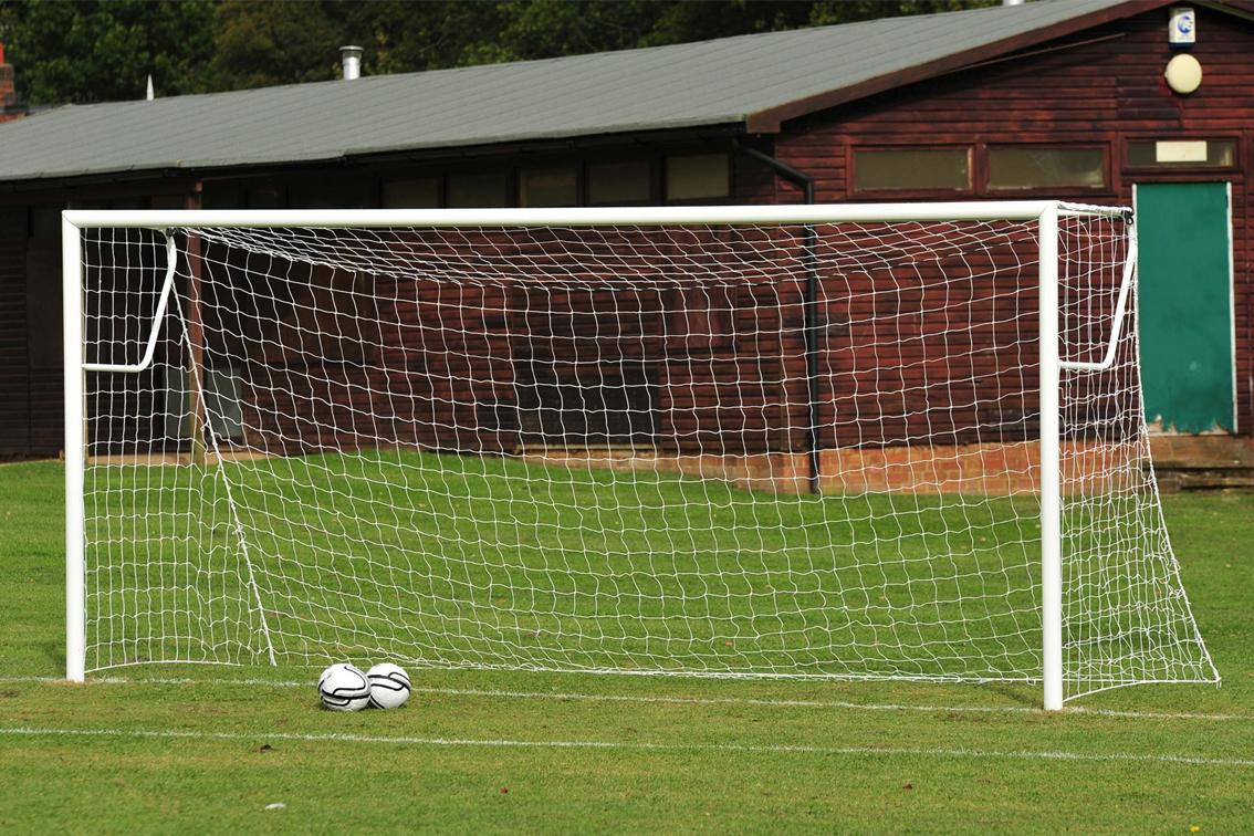 80mm Aluminium Socketed Football Goal Posts - 16' x 7'