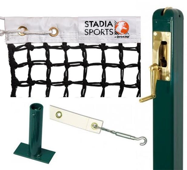 Square Steel Tennis Post complete with Stadia Tournament DoubleTop Tennis Net, Centre Band & Ground Socket