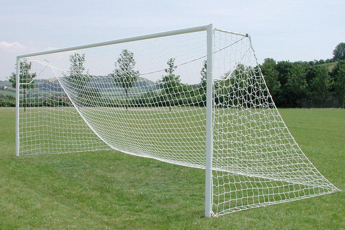 Heavyweight 76mm Steel Socketed Football Goal Posts - 24' x 8'