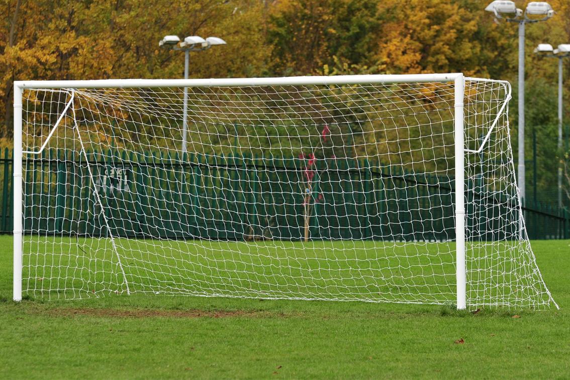 Heavyweight Socketed Steel Football Goal Posts - 16' x 7'