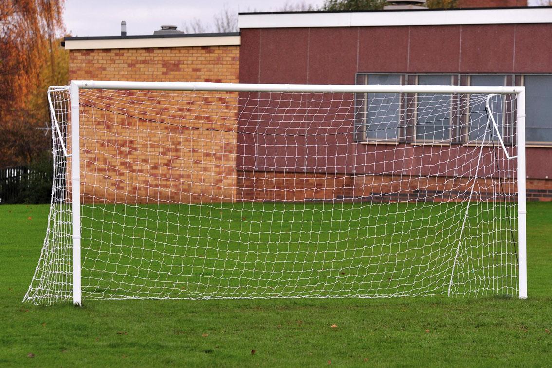 Locking Heavyweight Socketed Steel Football Goal Posts - 16' x 6'