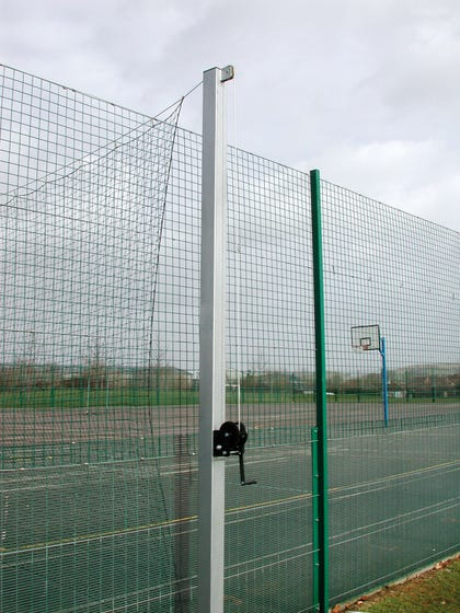 3m Pitch Divider Posts c/w Sockets 100mm Square 7mm Thick ( 1 x winder & 1 x anchor) with 1m deep sockets
