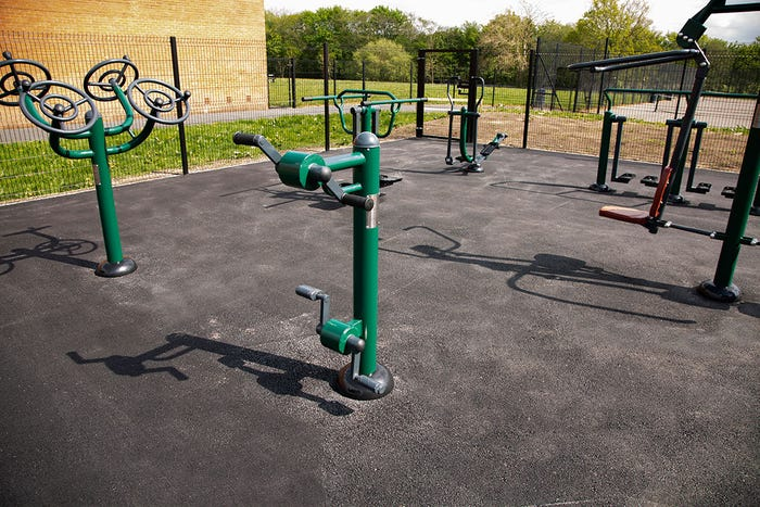 Wheelchair Accessible Arm & Pedal Bike   Static Hand Pedal Cycle   Wheelchair Friendly Outdoor Gym Equipment from Sunshine Gym