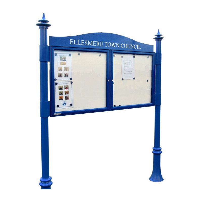 Double Bay Decorative Aluminium Noticeboard (Displays 6 x A4 per Bay)